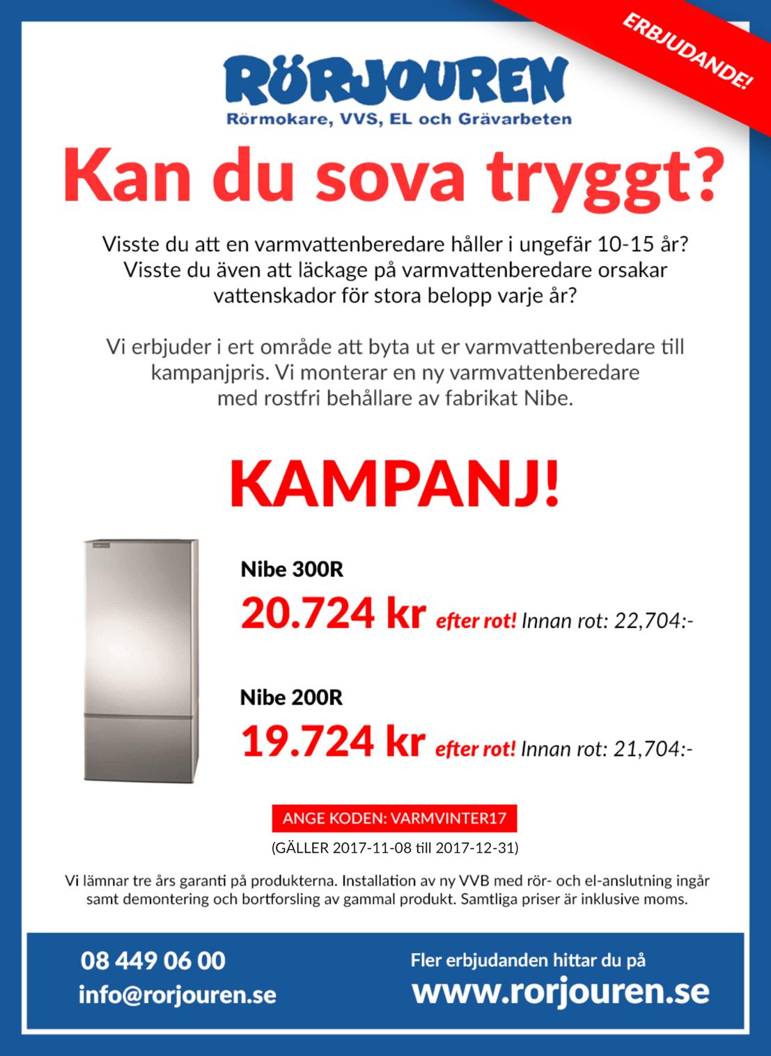 kampanj-nibe-varmvattenberedare pris